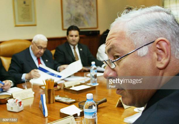Israeli Prime Minister Ariel Sharon attends a cabinet meeting in his office on May 30 2004 in Jerusalem Israel Sharon submitted his Gaza withdrawal...