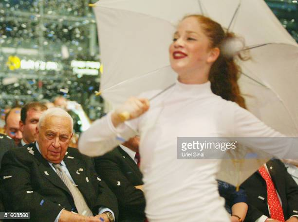 Israeli Prime Minister Ariel Sharon attends the opening ceremony of the new terminal three at Ben Gurion airport on October 28, 2004 in Israel.