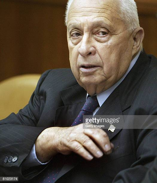 Israeli Prime Minister Ariel Sharon attends the weekly cabinet meeting on July 4 2004 in Jerusalem Israel Violence has surged in Gaza since Sharon...