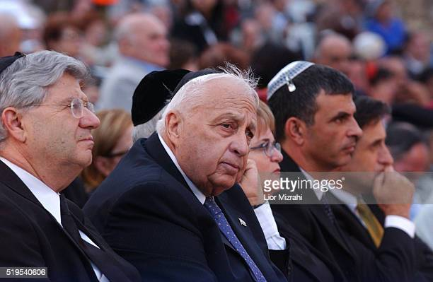 Israeli Prime Minister Ariel Sharon during a Jerusalem Day ceremony at Ammunition Hill commemorating those who fell during battle Wednesday May 19...