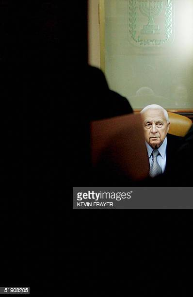 Israeli Prime Minister Ariel Sharon is seen as he chairs the weekly cabinet meeting at his Jerusalem office 02 January 2005. The naming of the new...