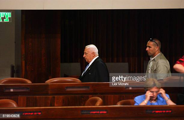 Israeli prime minister Ariel Sharon is seen during a special session of the Knesset, the Israeli Parliament, to mark the 59th anniversary of the...