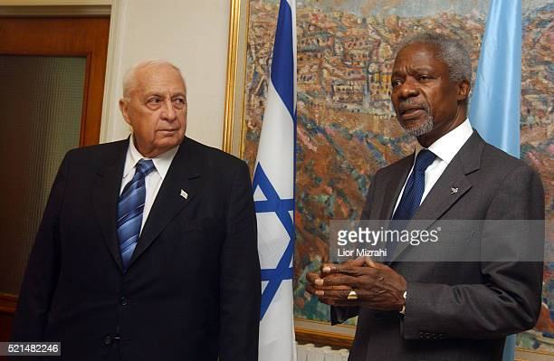 Israeli Prime Minister Ariel Sharon listens to UN SecretaryGeneral Kofi Annan before their meeting in his office in Jerusalem Sunday March 13 2005...