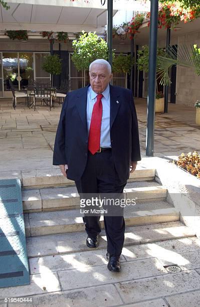 Israeli Prime Minister Ariel Sharon pauses for a photo in the Prime Minister house on September 13, 2004 in Jerusalem, Israel.