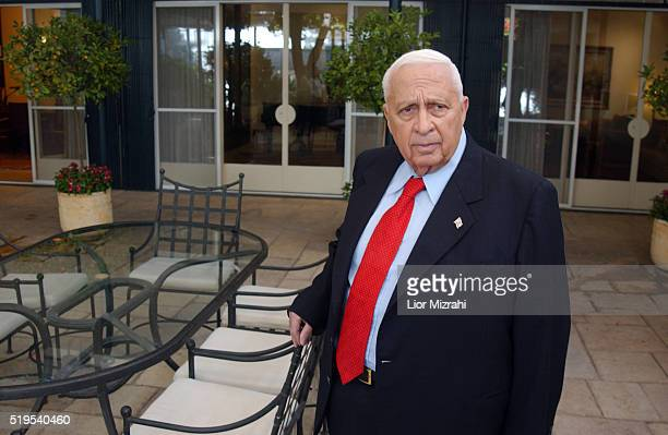 Israeli Prime Minister Ariel Sharon pauses for a photo in the Prime Minister house on September 13 2004 in Jerusalem Israel