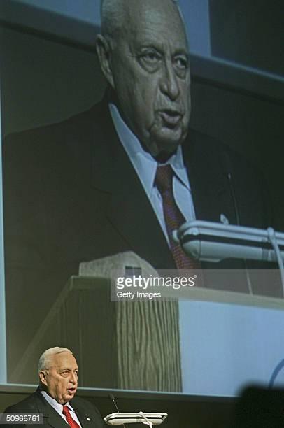 Israeli Prime Minister Ariel Sharon speaks during a heritage centre dedication for the former Prime Minister Menachem Begin on June 16 2004 in...