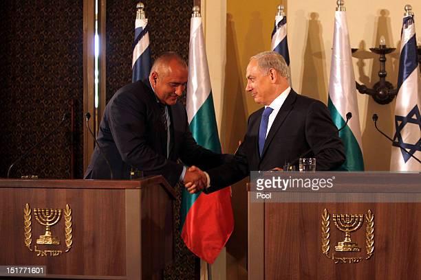 Israeli Prime Minister Benjamin Netantahu and his counterpart Bulgarian Prime Minister Boyko Borisov shake hands during a press conference on...