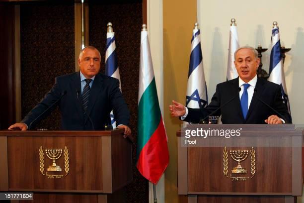 Israeli Prime Minister Benjamin Netantahu and his counterpart Bulgarian Prime Minister Boyko Borisov attend a press conference on September 11 2012...