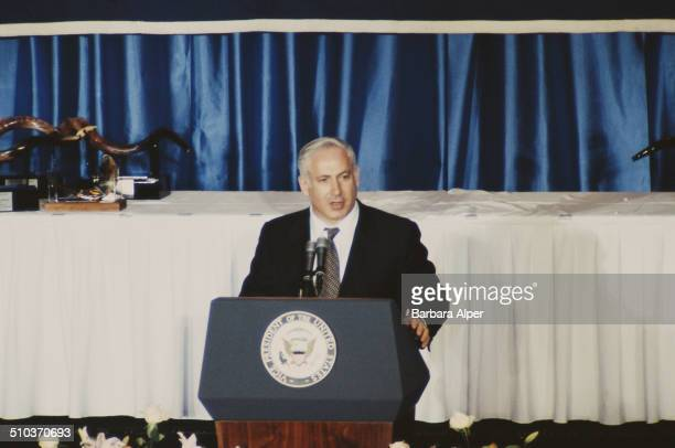 Israeli Prime Minister Benjamin Netanyahu addresses a dinner marking the 40th anniversary of the Conference of Presidents of Major American Jewish...