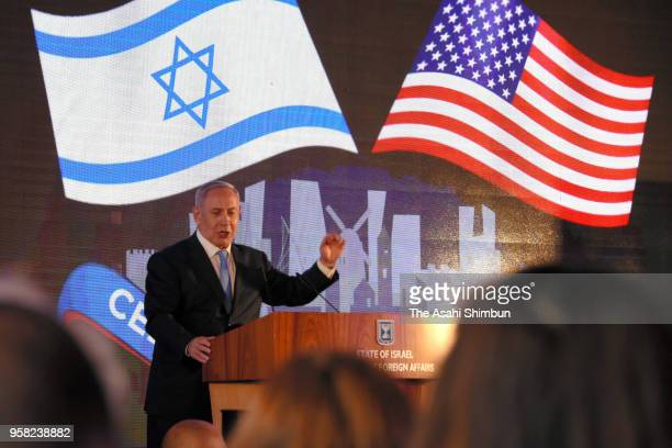 Israeli Prime Minister Benjamin Netanyahu addresses during the welcome ceremony of the US Embassy relocation to Jerusalem on May 13 2018 in Jerusalem