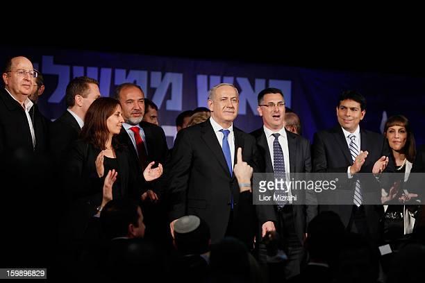 Israeli Prime Minister Benjamin Netanyahu addresses supporters at his election campaign headquarters on Janurary 23 2013 in Tel Aviv Israel Netanyahu...