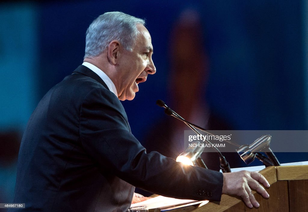 Israeli Prime Minister Benjamin Netanyahu addresses the American Israel Public Affairs Committee (AIPAC) policy conference inb Washington, DC, on March 2, 2015. Netanyahu is ramping up his mission to foil an emerging White House-backed nuclear deal with Iran with the speech to the powerful pro-Israel AIPAC lobby.