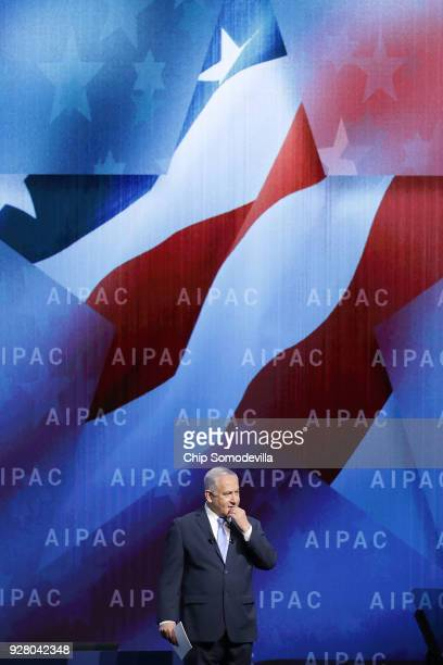 Israeli Prime Minister Benjamin Netanyahu addresses the American Israel Public Affairs Committee's annual policy conference at the Washington...