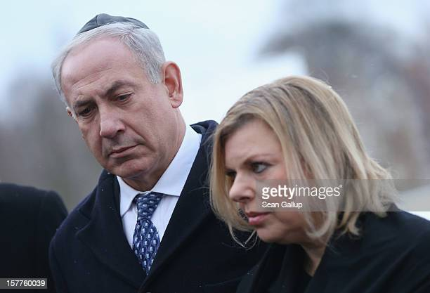 Israeli Prime Minister Benjamin Netanyahu and his wife Sara attend a memorial service at Track 17, the place where the Nazis deported tens of...
