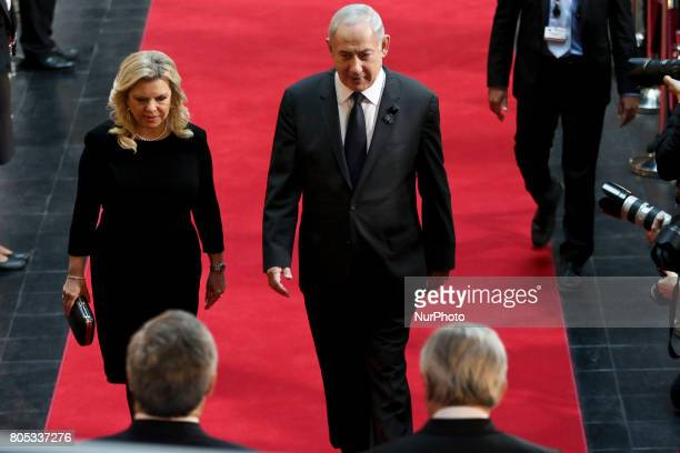 Israeli Prime Minister Benjamin Netanyahu and his wife Sara Netanyahu during the memorial service for former German Chancellor Helmut Kohl at the...