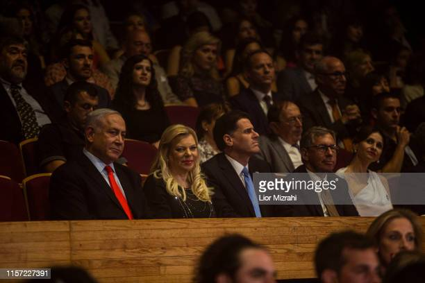 Israeli Prime minister Benjamin Netanyahu and his wife seen reacting to performers on stage during the Genesis Prize ceremony at The Jerusalem...