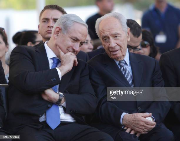 Israeli Prime Minister Benjamin Netanyahu and Israeli President Shimon Peres attend the annual memorial ceremony for David BenGurion Israel's first...