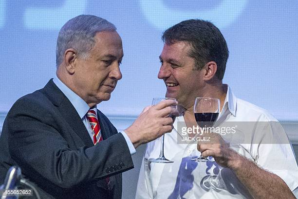 Israeli Prime Minister Benjamin Netanyahu and Modi'in mayor Haim Bibas also head of the Union of Local Authorities in Israel take part in a preRosh...