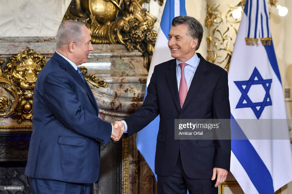 Israeli Prime Minister Benjamin Netanyahu (L) and President of Argentina Mauricio Macri shake hands during a meeting as part of the official visit of Israeli Prime Minister Benjamin Netanyahu to Buenos Aires at Casa Rosada on September 12, 2017 in Buenos Aires, Argentina.