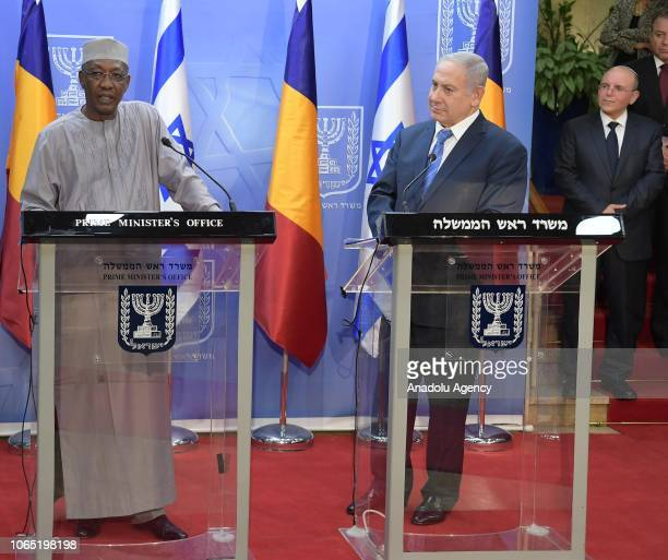 Israeli Prime Minister Benjamin Netanyahu and President of Chad Idriss Deby hold a joint press conference in western Jerusalem on November 25 2018