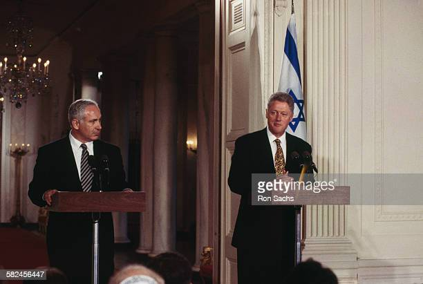 Israeli Prime Minister Benjamin Netanyahu and US President Bill Clinton hold a joint press conference at the White House Washington DC 9th July 1996...