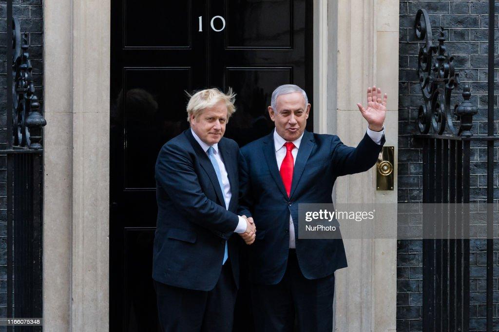 Boris Johnson Meets Israel's Benjamin Netanyahu : News Photo