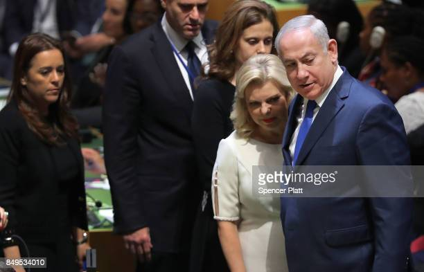 Israeli Prime Minister Benjamin Netanyahu arrives with his wife Sara Netanyahu for the 72nd United Nations General Assembly meeting at UN...