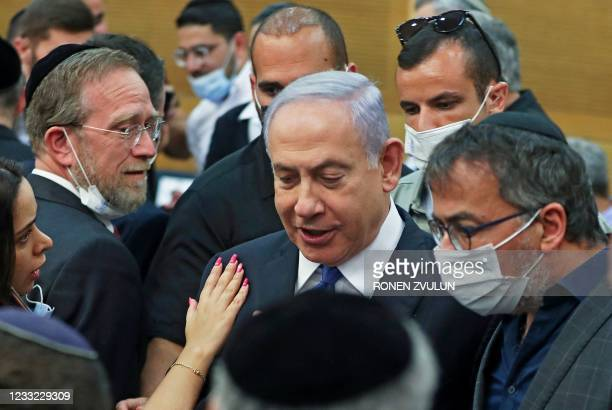 Israeli Prime Minister Benjamin Netanyahu attends a special session of the Knesset, Israel's parliament, in which MPs will elected a new president,...