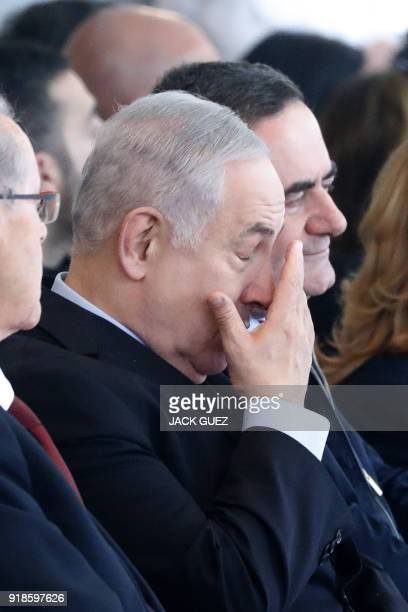 Israeli Prime Minister Benjamin Netanyahu attends an inauguration ceremony for a new section of Ben Gurion International Airport near the Israeli...