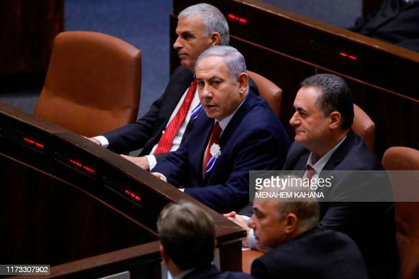 Israeli Prime Minister Benjamin Netanyahu attends the swearing-in ceremony at the Knesset in Jerusalem on October 3, 2019. - Netanyahu may call for...