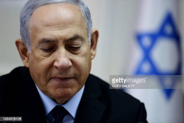 Israeli Prime Minister Benjamin Netanyahu attends the weekly cabinet meeting at his office in Jerusalem on October 28 2018