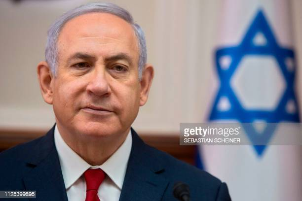 Israeli Prime Minister Benjamin Netanyahu attends the weekly cabinet meeting at the Prime Minister's office in Jerusalem on February 17 2019 Israeli...