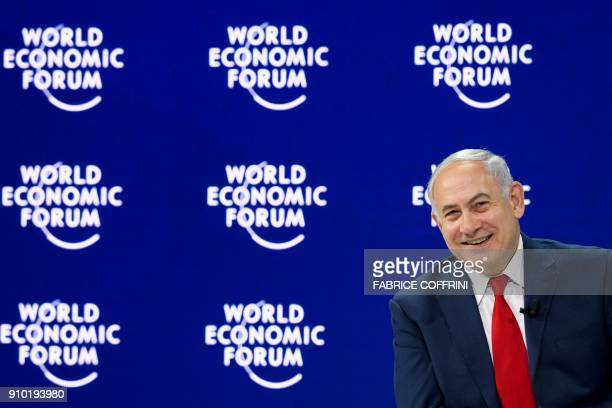 Israeli Prime Minister Benjamin Netanyahu attends the World Economic Forum annual meeting on January 25 2018 in Davos eastern Switzerland / AFP PHOTO...