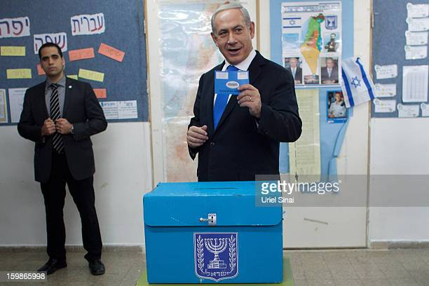 Israeli Prime Minister Benjamin Netanyahu casts his ballot at a polling station on election day on January 22 2013 in Jerusalem Israel Israel's...