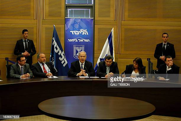 Israeli Prime Minister Benjamin Netanyahu chairs the LikudBeiteinu faction meeting at the Knesset on March 14 2013 in Jerusalem Netanyahu is to...
