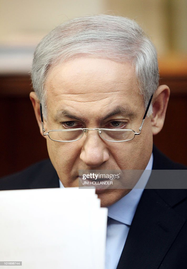 Israeli Prime Minister Benjamin Netanyahu chairs the weekly cabinet meeting in his Jerusalem offices on June 6, 2010, amid calls for an investigation into the deadly Israeli army raid on the Free Gaza Movemenet flotilla last week.