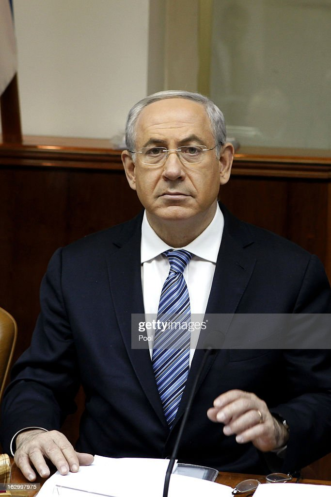 Israeli Prime Minister Benjamin Netanyahu chairs the weekly cabinet meeting at his Jerusalem office on March 3, 2013 in Jerusalem, Israel. Israeli President Shimon Peres gave Netanyahu a two-week extension to form a new coalition government, after he failed to do so in an initial four-week period.