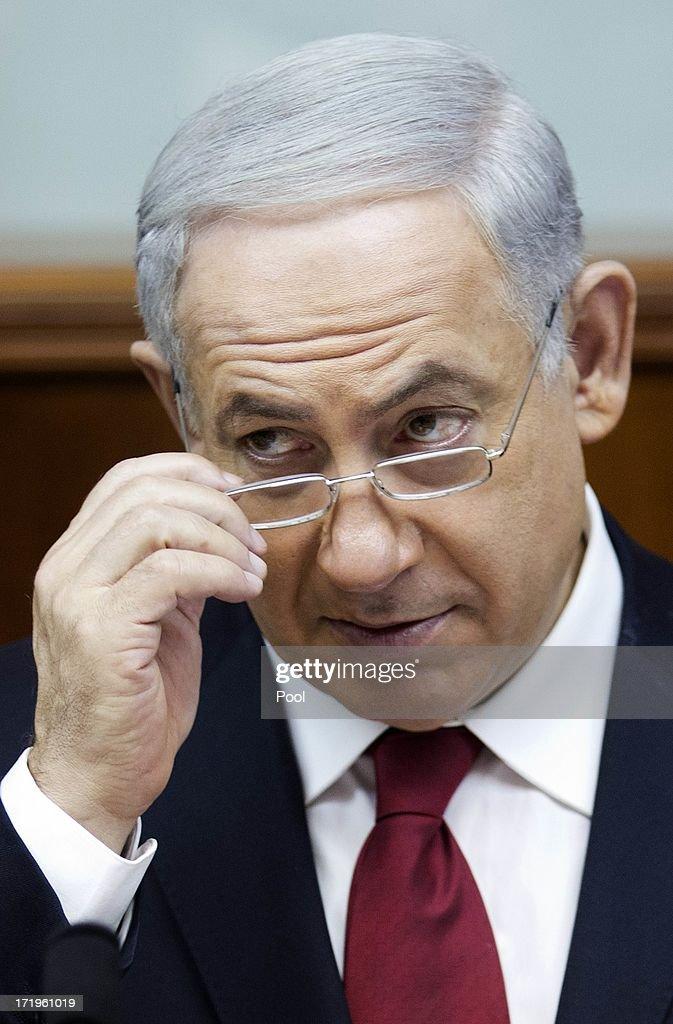 Israeli Prime Minister Benjamin Netanyahu chairs the weekly cabinet meeting on June 30, 2013 in Jerusalem, Israel. Secretary of State John Kerry visited Israel this past week for peace talks.