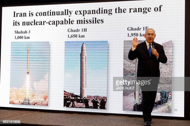 Israeli Prime Minister Benjamin Netanyahu delivers a speech on Iran's nuclear program at the defence ministry in Tel Aviv on April 30 2018 Netanyahu...