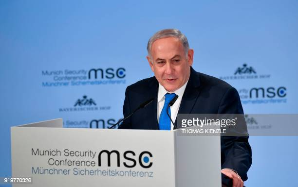 Israeli Prime Minister Benjamin Netanyahu delivers a speech on the third day of the 54th Munich Security Conference held at the Bayerischer Hof...