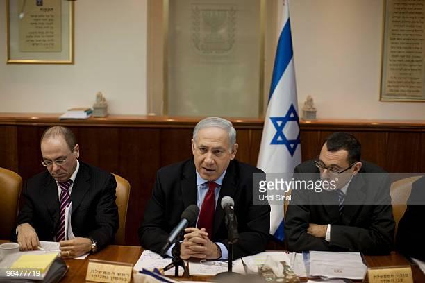 Israeli Prime Minister Benjamin Netanyahu during the weekly cabinet meeting on February 7 2010 in his office in Jerusalem Israel Netanyahu said he...