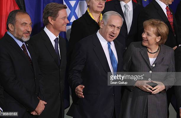 Israeli Prime Minister Benjamin Netanyahu, flanked by German Chancellor Angela Merkel , German Foreign Minister Guido Westerwelle and Israeli Foreign...