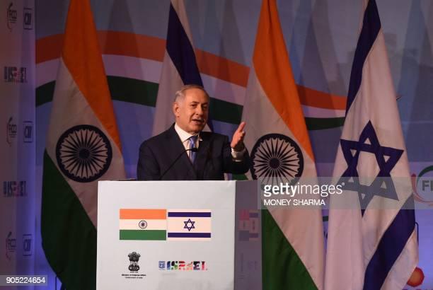 Israeli Prime Minister Benjamin Netanyahu gestures as he speaks during the IndiaIsrael Business Summit in New Delhi on January 15 2018 Benjamin...