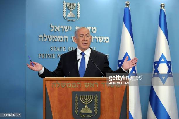 Israeli Prime Minister Benjamin Netanyahu gives a press conference in Jerusalem on August 13, 2020. - Israel and the UAE agreed to normalise...