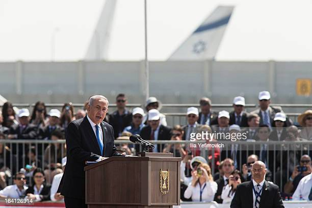 Israeli Prime Minister Benjamin Netanyahu gives a welcoming speech for US President Barack Obama on his arrival at Ben Gurion International Airport...