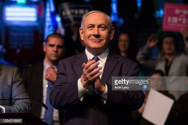 Israeli Prime Minister Benjamin Netanyahu greets supporters at Likud Party election rally on February 29 2020 in Ramat Gan Israel In two days...