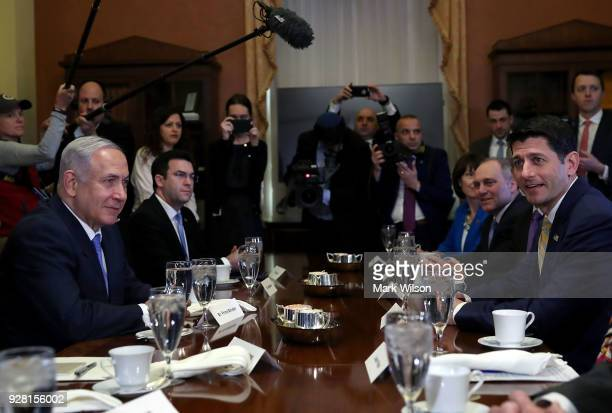 Israeli Prime Minister Benjamin Netanyahu has lunch with House Speaker Paul Ryan and members of the House leadership on March 6 2018 in Washington DC...
