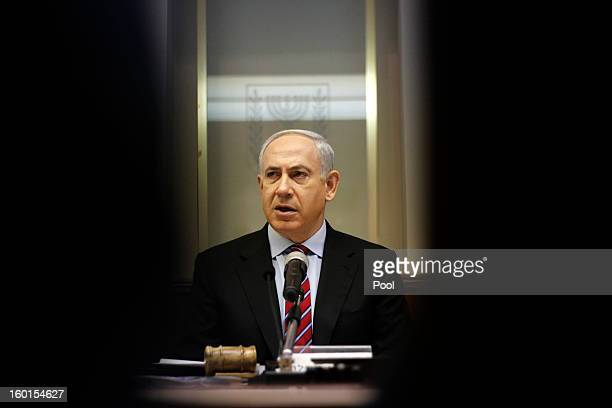 Israeli Prime Minister Benjamin Netanyahu heads the first weekly Cabinet meeting since the nation's General Election at his office on January 27 2013...