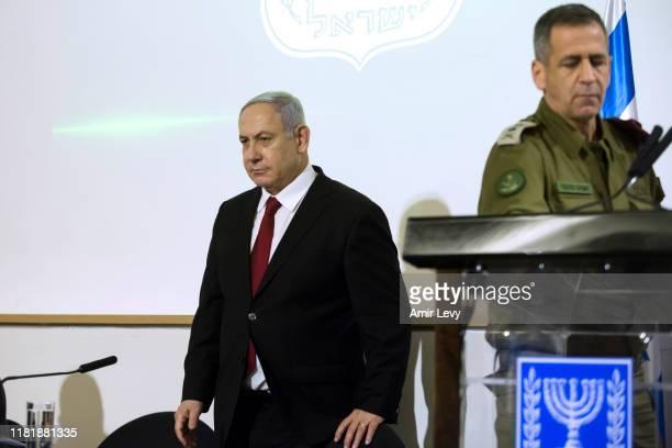 Israeli Prime Minister Benjamin Netanyahu, IDF Chief Aviv Kochavi attend to deliver a statemnent on November 12, 2019 in Tel Aviv, Israel. The IDF...