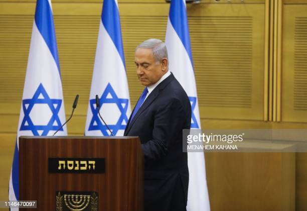 Israeli Prime Minister Benjamin Netanyahu is pictured at the Knesset in Jerusalem on May 27, 2019. - Israel's parliament today took a first step...